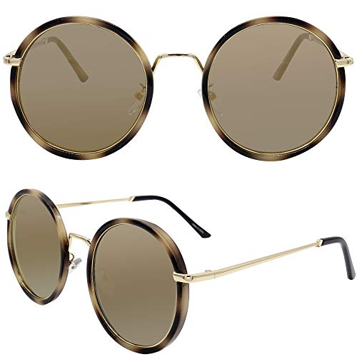 GICL UV 400 Lens Protection Metal Round Mirror Sunglasses for Women 8073 - 400 Uv Protection Lens