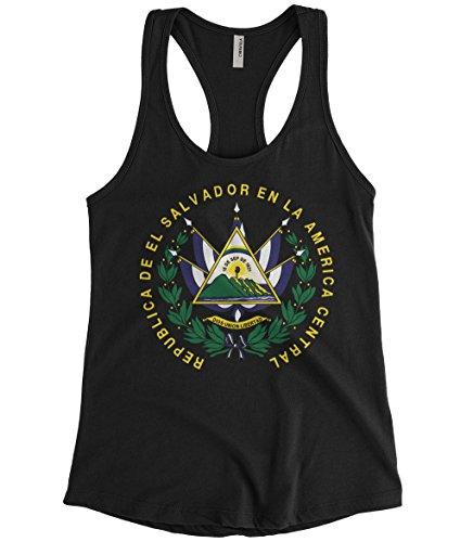 Cybertela Women's EL Salvador Coat Of Arms Racerback Tank Top (Black, Medium)