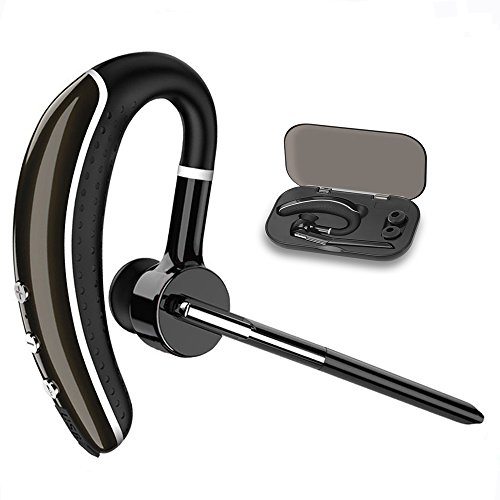 Bluetooth Headset,Candeo Hands Free headset Wireless Business Bluetooth Earpiece with Noise Reduction for cell phone-Headset+Case … (Black) from Candeo