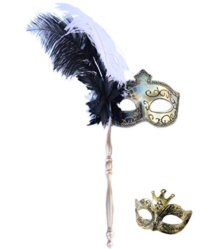 Masquerade Mask with Stick for Women Masquerade Ball Evening Party Prom and Gift(Black+Handle) (Mask With Handle)