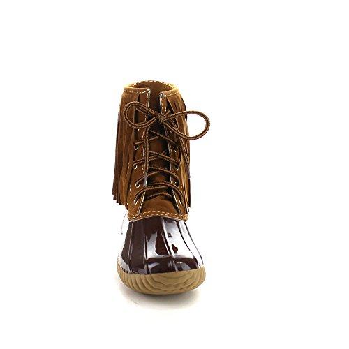 Beston Axy Dylan-86 Donna Due Toni Lace Up Fringe Ankle Antivento Antivento Stivali Taglia Unica Piccola Marrone