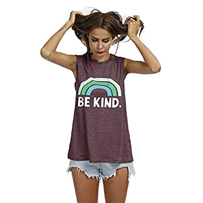 IRISGOD Womens Be Kind Tank Tops Casual Short Sleeve Rainbow Inspirational Graphic Tees Tops at Women's Clothing store