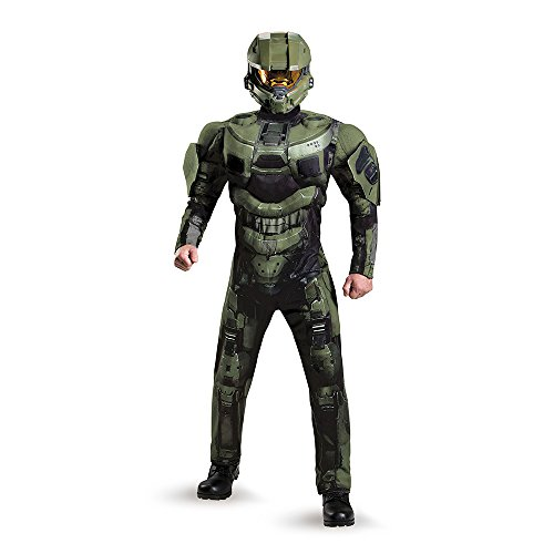 Disguise Men's Halo Deluxe Muscle Master Chief Adult Costume, Green, XX-Large (Master Chief Halloween)