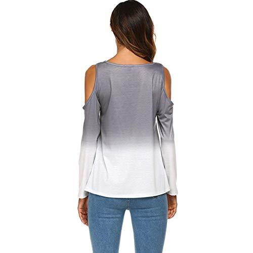 Rond Chemises Tee Nu Casual Irrgulier Femmes Epaule Shirt Automne et Gris Col Pente Jumpers T Tops Chemisiers Printemps Longues Mode Blouse Hauts Manches 4O1wWq0
