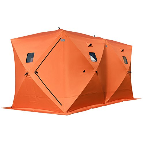 Tangkula Pop-up Ice Shelter 8-Person with Detachable Ventilation Windows & Carry Bag Frost Resisting Oxford Fabric Zippered Door Waterproof Portable Ice Fishing Tent Shanty, Orange