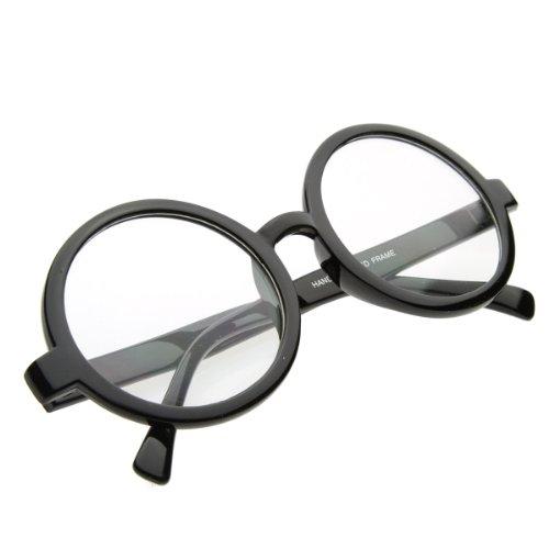 Anteojos inspirados en la vendimia Gafas redondas con lentes transparentes (negro)