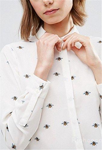 Novio Estilo Botones Abotonada en la Parte Delantera Abeja Impresión Chifón Bajo Redondeado Manga Larga Blusón Blusa Camisero Camiseta Camisa Top Blanco Blanco