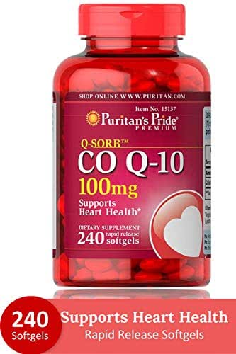 Puritans Pride QSORB CoQ10 100 mg Supports Heart Health** Important for Statin Medication Users 240 Rapid Release Softgels