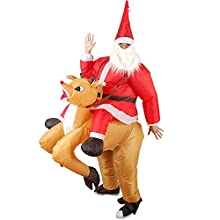 DeHasion Christmas Inflatable Santas and Reindeer Costume Christmas Santa Costume Cosplay Inflatable Santa Claus Costume Sant Suit Cosplay Reindeer Rider Suit (for Adult 150cm-190cm)