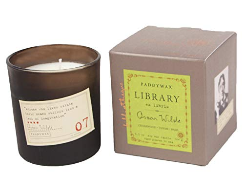 Paddywax Library Collection Oscar Wilde Scented Soy Wax Candle, 6.5-Ounce, Cedarwood, Thyme & Basil