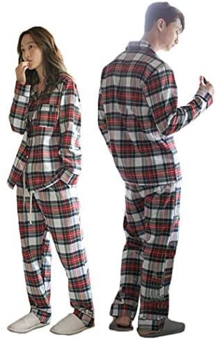 2着セット レディース メンズ チェック柄パジャマ 長袖 上下セット 綿 お揃い 秋冬用 パジャマ 寝巻き カップル ペアパジャマ ルームウェア チェックペアパジャマ