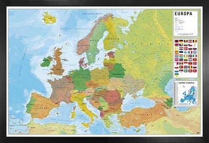 Mapa Fisic De Europa.Amazon Com 1art1 Maps Poster And Frame Mdf Mapa Europa