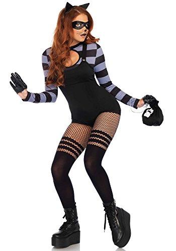 Leg Avenue Women's 4 Pc Cat Burglar Halloween Costume, Black, (Cat Burglar Costumes)