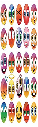 Emoji 3D Decorative Film Privacy Window Film No Glue,Frosted Film Decorative,Rainbow Colored Cartoon Like Smiley Face Expressions Sad Happy Angry Fierce Art Print,for Home&Office,23.6x70.8Inch Multico