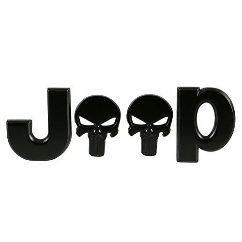 Tearcam 3D Skull Emblem, Metal Jeep Logo Badge Emblem Decal Front/Rear Trunk Stickers for Car, Van, SUV, Vehicle