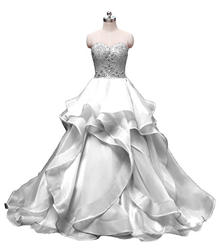 HEIMO Women's Beaded Evening Party Ball Gowns Ruffled Sequined Formal Prom Dresses Long H196 4 White