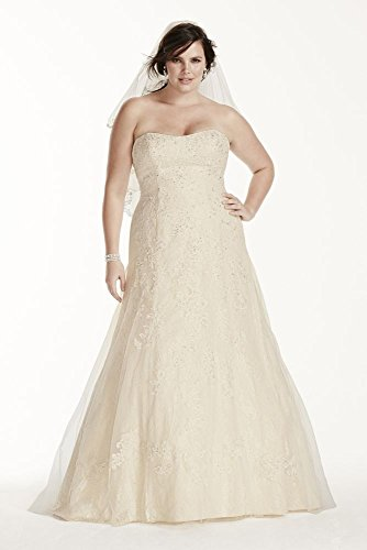 Jewel lace a line beaded plus size wedding dress style 9wg3755 for A line plus size wedding dress
