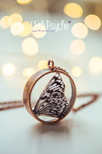 collar de mariposa de papel, collar de resina, colgante de camafeo de mariposa, collar de insectos, joyería de mariposa blanca, regalo para las mujeres.: Amazon.es: Handmade
