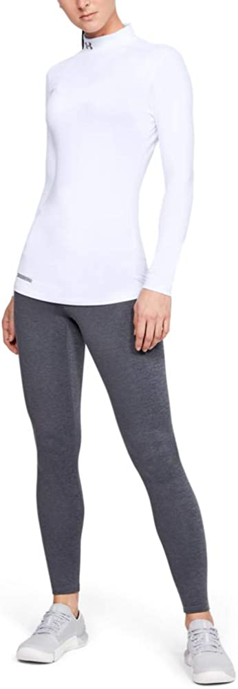 Under Armour Women's Coldgear Mock Fitted Long Sleeve Running Top White