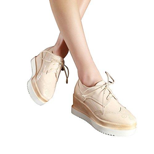 Susanny Plateforme Plate-forme Caleçons À Lacets Bout Rond Bout Arrondi Oxfords Chaussure Casual Cuir Sneaker Abricot