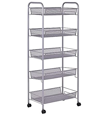 Mesh Storage Cart On Wheels 5 Tier   Mobile Rolling Organizer Utility Unit  W Baskets