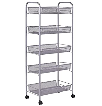 Mesh Storage Cart On Wheels 5 Tier - Mobile Rolling Organizer Utility Unit w Baskets -  sc 1 st  Amazon.com & Amazon.com: Mesh Storage Cart On Wheels 5 Tier - Mobile Rolling ...