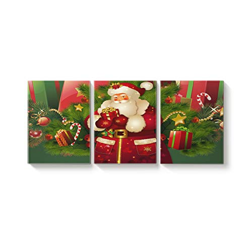 3 Piece Canvas Wall Art Oil Painting Home Art Decor,SantaClaus Merry Christmas Party Pictures Artworks for Office,Stretched by Wooden Frame,Ready to Hang,12x16inx3 Panels