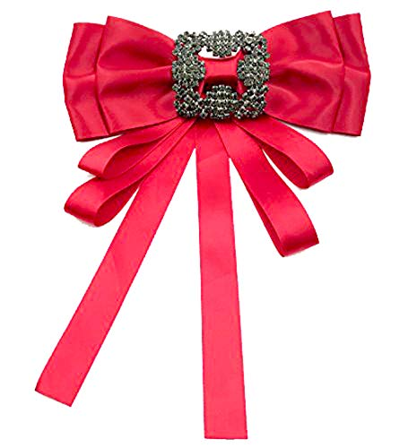 Fashion Women Pre-Tied Neck Tie Rhinestone Crystal Brooches Pin Clip Ribbon Wedding Party By Tinsley (Red) ()