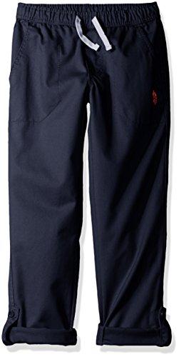 (U.S. Polo Assn. Boys' Drawstring Pant with Roll Up Hem, Classic Navy,)