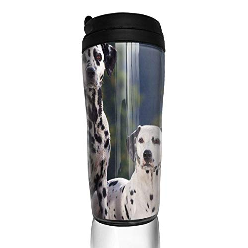 Custom Reusable Coffee Cup Dalmatian Dog On The Mountain Tumbler Vacuum-Insulated Travel Mug Hot Or Cold,12 Oz.with Lids -