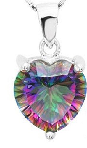 Mystic Fire Topaz Pendant 3.8 Carat Heart Shaped with 18