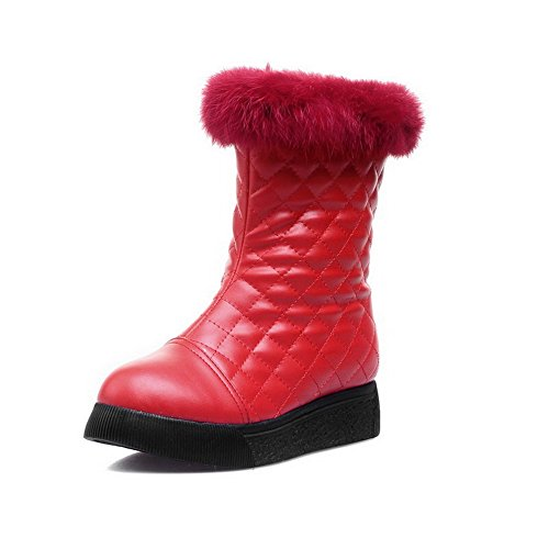 AllhqFashion Damen Niedrig-Spitze Reißverschluss Niedriger Absatz Stiefel mit Metallisch, Rot, 36