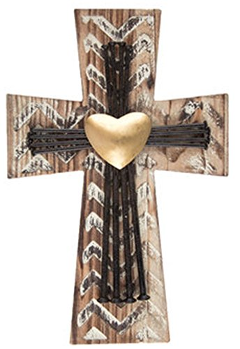 Beautiful Distressed Wood and Metal Cross with Metal Nails and Gold Metal Heart Home Wall Decor 12