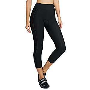 Baleaf Women's 3D Padded UPF 50+ 3/4 Cycling Compression Tights Capris with Pocket Black Line Size S
