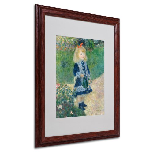 A Girl with a Watering Can Canvas Wall Art by Pierre Renoir with Wood Frame, 16 by 20-Inch