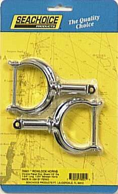 Seachoice Oarlock Horns Chrome Plated Zinc 1-3/4 in, 1-3/4 in. L, 1/2 in. O.D. 2 / Card