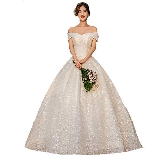 GLMPQ Women's Wedding Dress Women Off Shoulder Sweetheart Glitter Sequin Floor Length Ball Gown Wedding Dress Princess Bridal Dresses for Wedding (Color : Ivory, Size : XL)