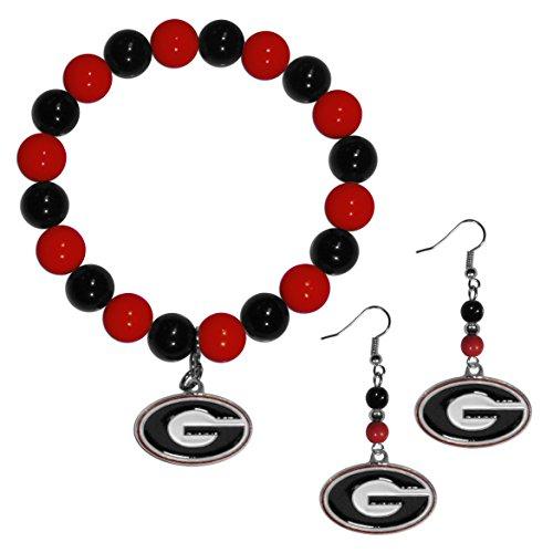 Georgia Bulldogs Bracelets - Siskiyou NCAA Georgia Bulldogs Fan Bead Earrings & Bracelet Set
