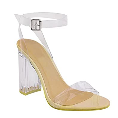 60048753001 WOMENS LADIES PERSPEX BLOCK HIGH HEELS CLEAR SANDALS CELEB ANKLE STRAPPY  SIZE UK  Nude Patent