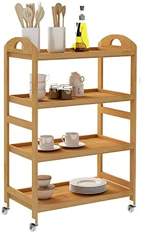SDHYL 4-Tier Kitchen Storage Shelf Rolling Kitchen Cart