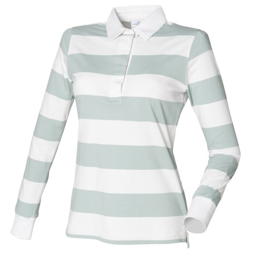- Front Row Womens/Ladies Striped Rugby Polo Shirt (L) (White/Duck Egg Blue)