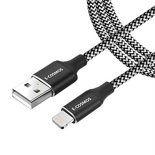 E COSMOS 3.1A 8 Pin 6ft Long Nylon Braided Tough Cable for iPhone, iPad and iPod  Black and White
