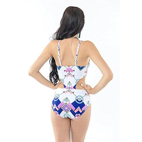 6 Hombro Traje De Baño De La Correa / Hueco Atractiva Del Bikini De Impresión Digital Multicolor Tejida A Mano De Europa Y América White