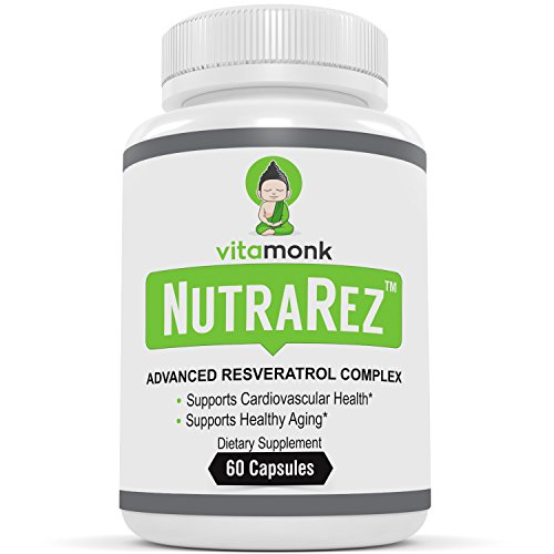 NutraRez™ Bio-Enhanced Resveratrol Supplement - Advanced Complex With Pterostilbene, Grape Seed Extract, Quercetin & Turmeric - Supplements Optimized For Healthy Aging - Best Resveratrol Capsules by VitaMonk