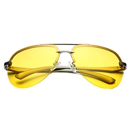 630db3453a PenSee Night Driving Vision Anti Glare Lens Metal Frame Polarized Aviator  Sunglasses high-quality