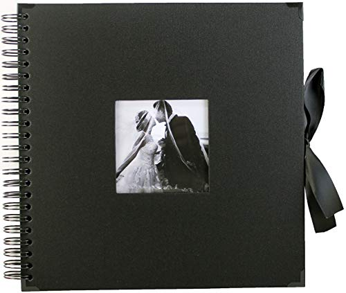 Black DIY Scrapbook Photo Album - 10x10 inch - 80 Pages with Cover Photo Pocket and Corner Protectors - Silk Ribbon - Craft Paper for Guest Book, Wedding, Anniversary, Christmas Gift - Do It Yourself