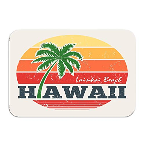 wuhandeshanbao Outside Shoe Non-Slip Color Dot Doormat Hawaii Lanikai Beach Print Palm Tree Design Stamp Label Typography Mats Entrance Rugs Carpet 16 24 - Palm Monkey Elephant Tree