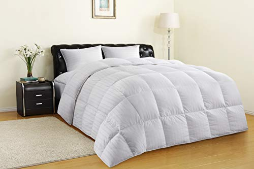 Allrange All-Season 75% White Down Quilted Comforter Duvet, 300TC 100% Cotton Dobby Stripe Cover, 600 Fill Power, Corner Loops, RDS Certified, Oeko-TEX, Down Proof, White, King Size