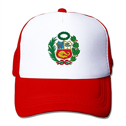 SHINENGST Peru Mesh Trucker Caps/Hats Adjustable For Unisex Red