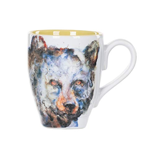 DEMDACO 3005050295 Bear Watercolor Glossy Stoneware Mug With Handle 16 Ounce, Brown On White